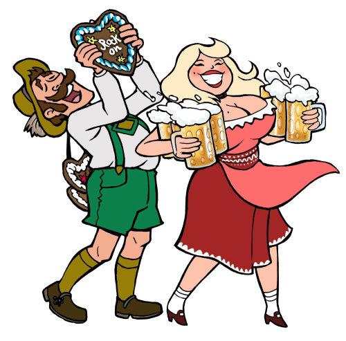 Casal festejando com cerveja