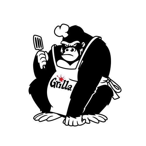 Chef de gorila preto e branco