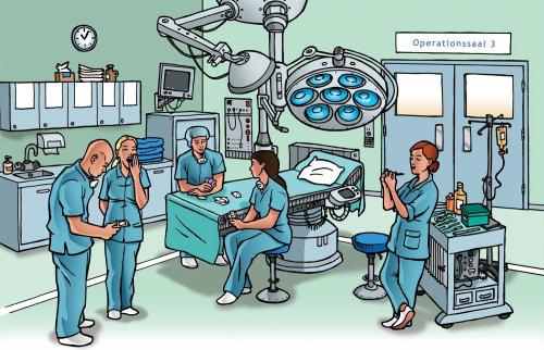 Uma ilustração dos médicos no teatro de operação