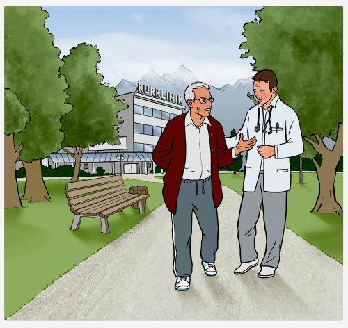 Médico e paciente caminhando no parque - uma ilustração de Mueller Wegner