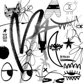 Nadia Flower Scribbles Black & White