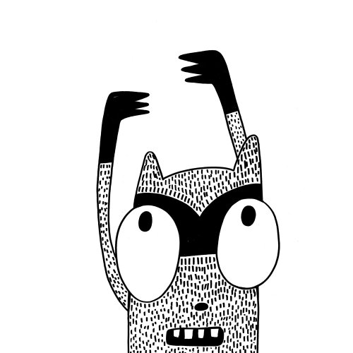 Character design monster with hands up