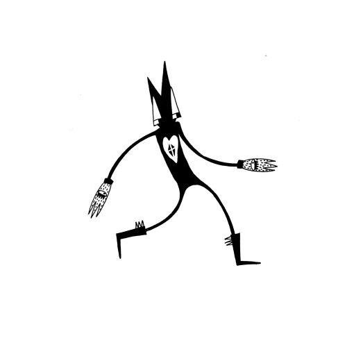 Black & White walking character