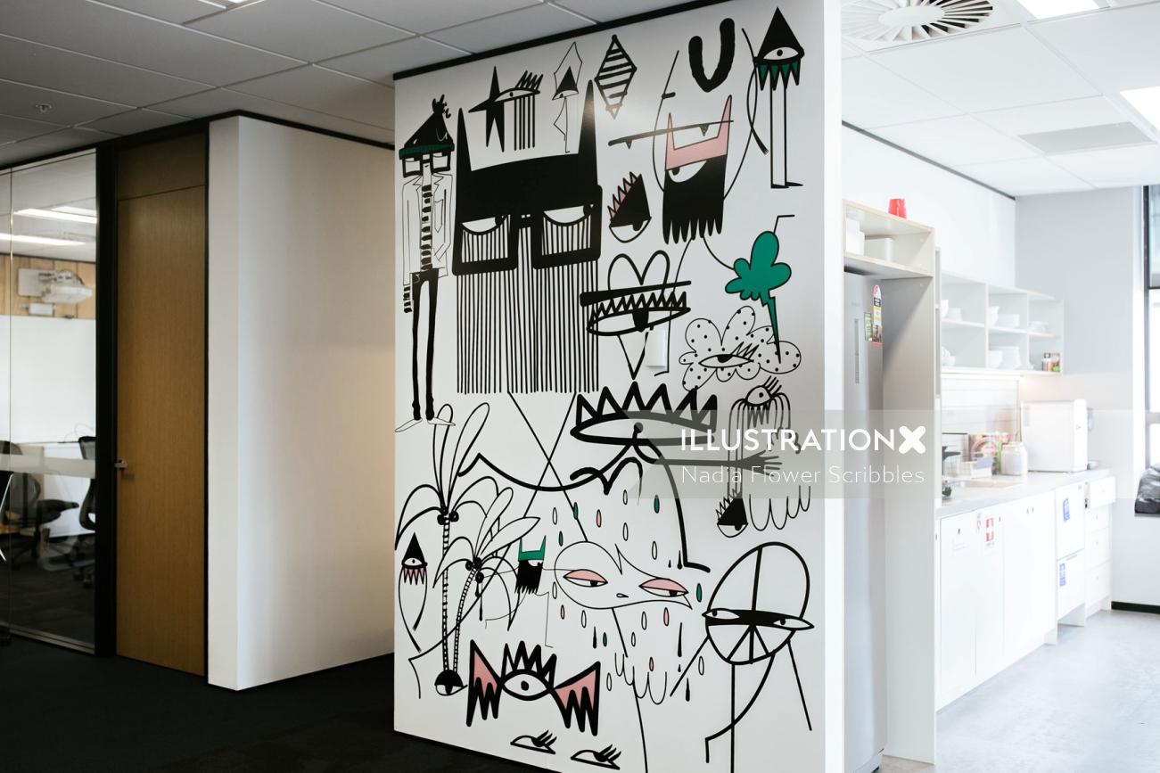 Decorative wall graphic scribble