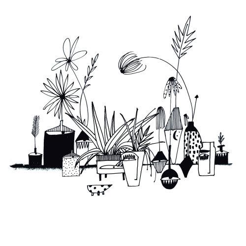 Feuilles et fleurs en noir et blanc