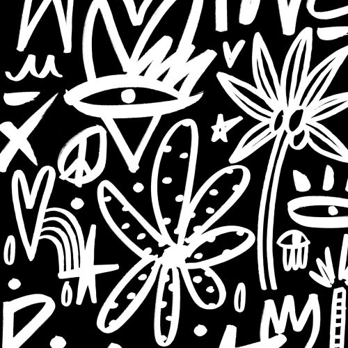 Nadia Flower Scribbles Black & White Illustrator