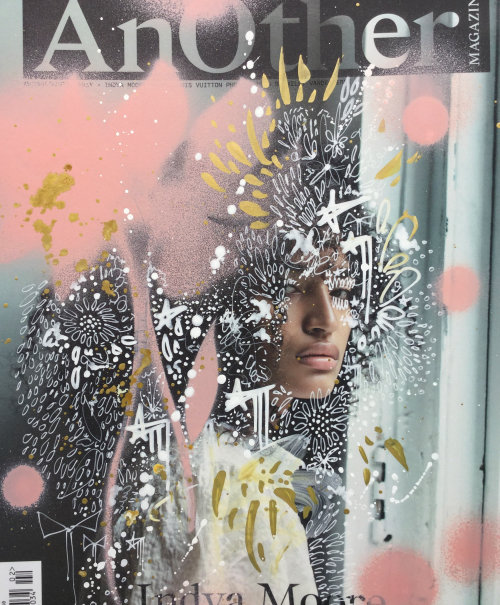 Graphic girl face with scribble background