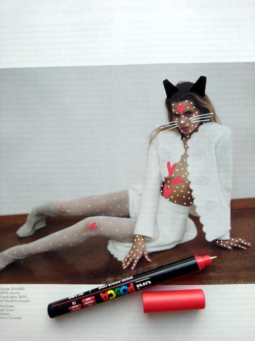 Graphic art on cat girl