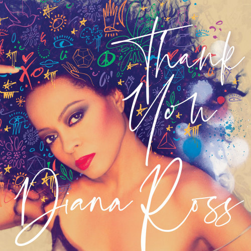 Lettering Thank you Diana Ross on photograph