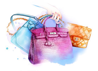 Water colour painting lady hand bags