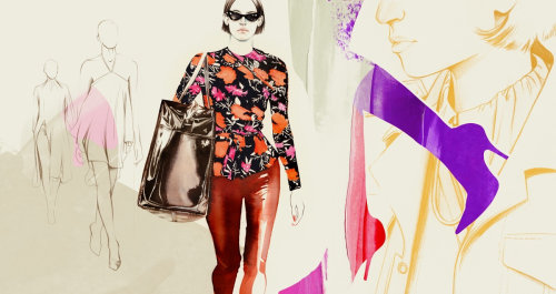 Women's clothing pattern line and color illustration