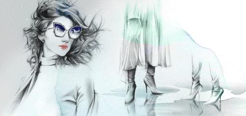 Fashion women collage art