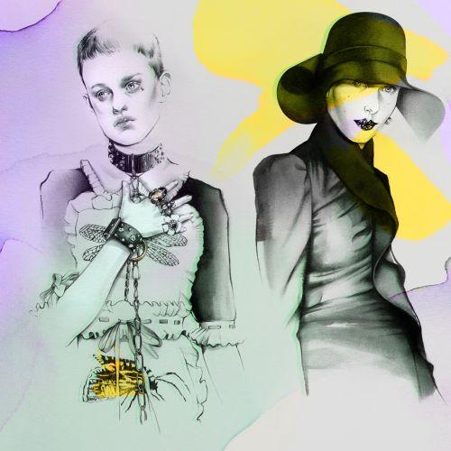 Stylish female collage illustration