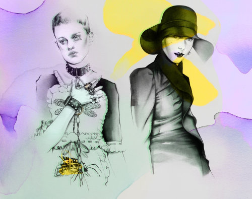 Stylish female collage illustration