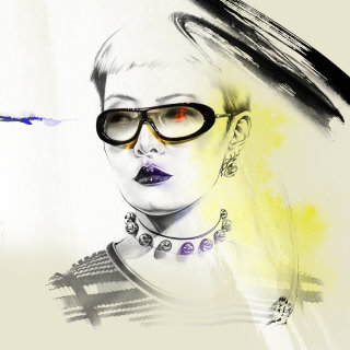 Hand drawing of stylish woman with glasses