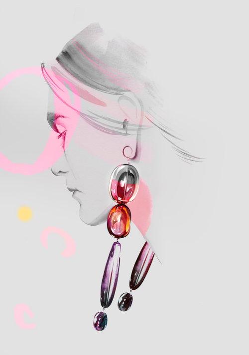 Pencil drawing of a woman with beautiful earrings