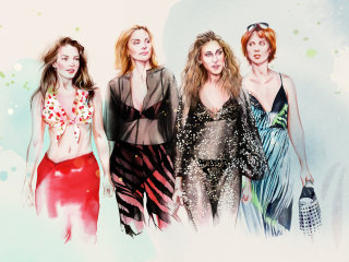 Watercolour painting of fashion models