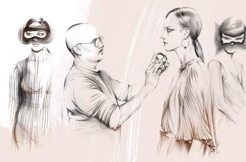 Man putting makeup on a girl