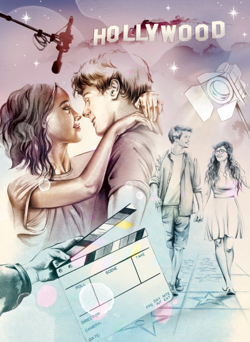Hollywood movie shooting scene pencil made art
