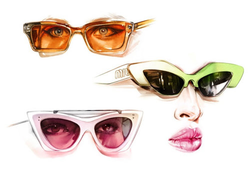 Hand drawing of stylish women with glasses