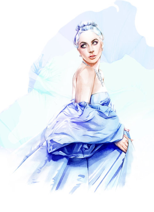 Painting of a beautiful woman in blue frock