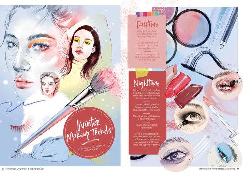 Editorial illustration on Winter makeup trends