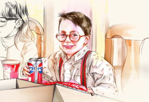 Portraiture of a boy holding Pepsi tin