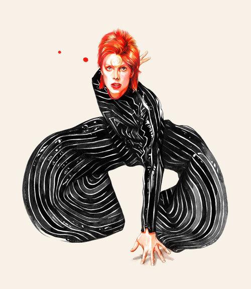David Bowie in striped fashion