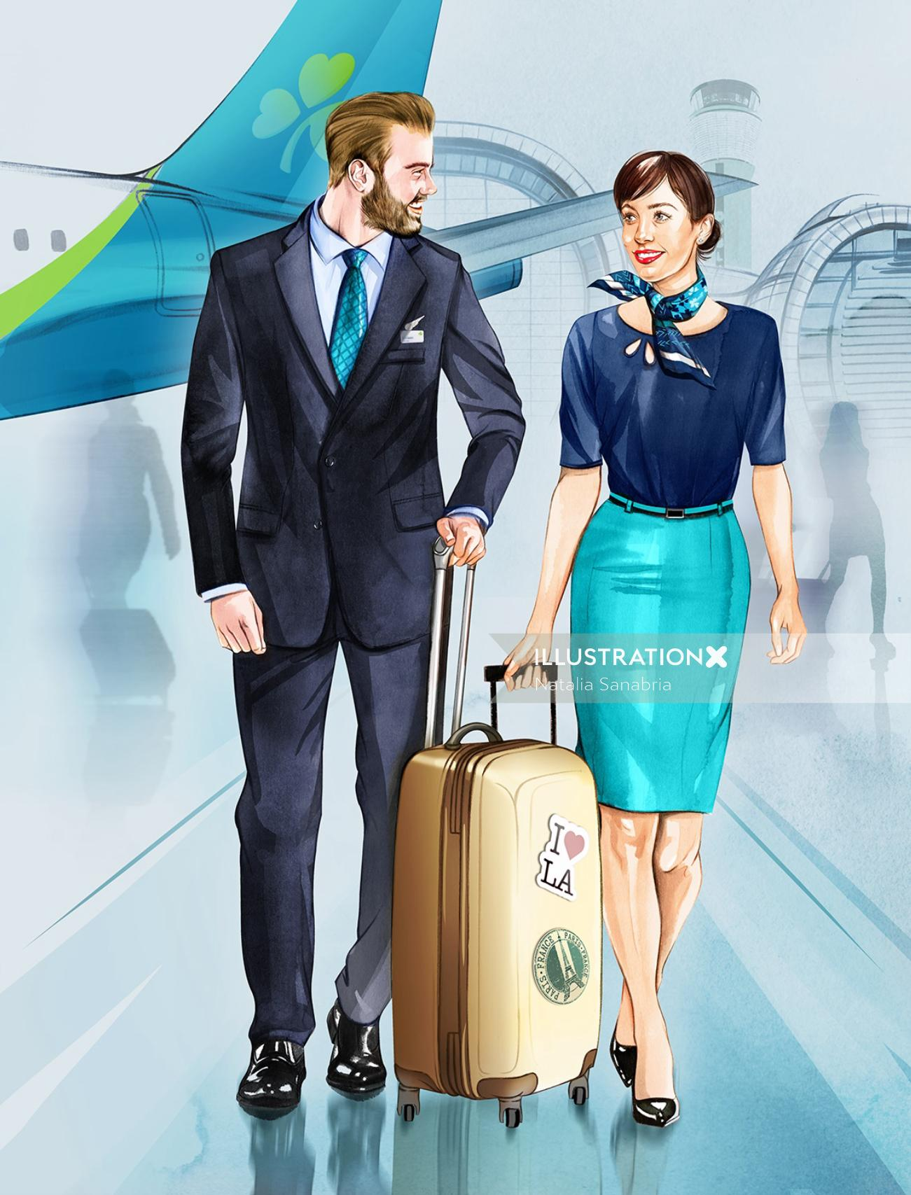 Air Hostess graphic design