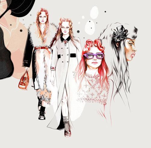 Fashion models illustration by Natalia Sanabria