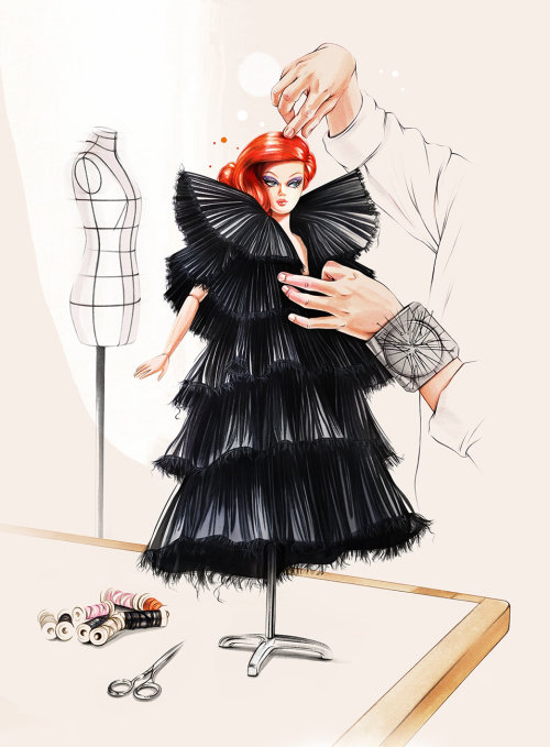 Fashion design mannequin doll drawing