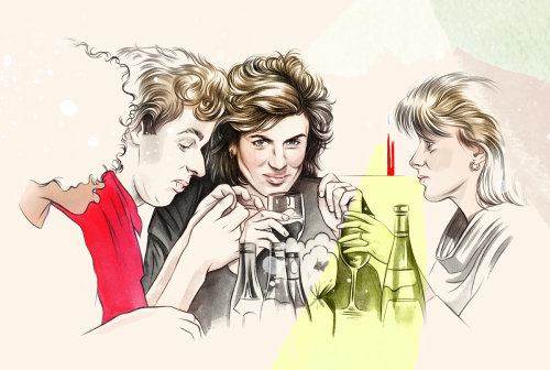 Graphic design of people having drink