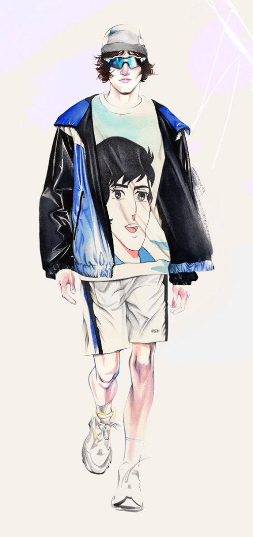Pencil made art of fashion man