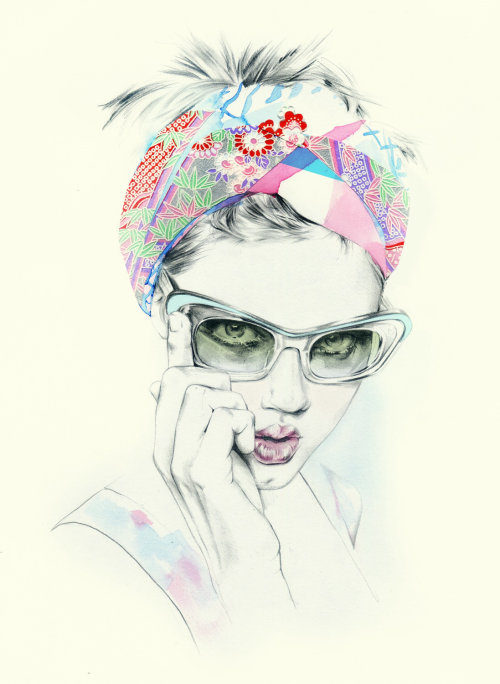 Water colour painting of Lindsey Wixson