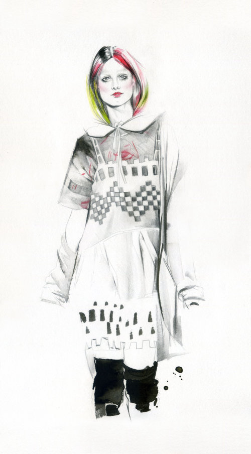 Natalia's illustration of a model with complete dress and colorful hair