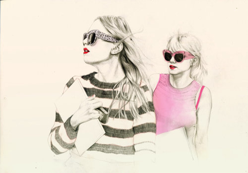 illustration of two beautiful women with sunshades