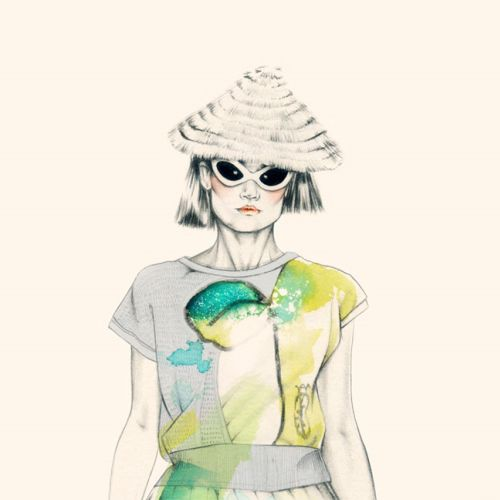 Water colour painting of a lady for Tsumori Chisato fashions