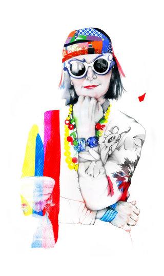 Stylish lady drawing by Natalia Sanabria