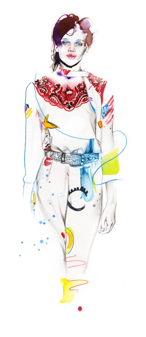 Fashion drawing of a model