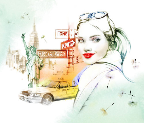 Portrait painting of a New York Girl