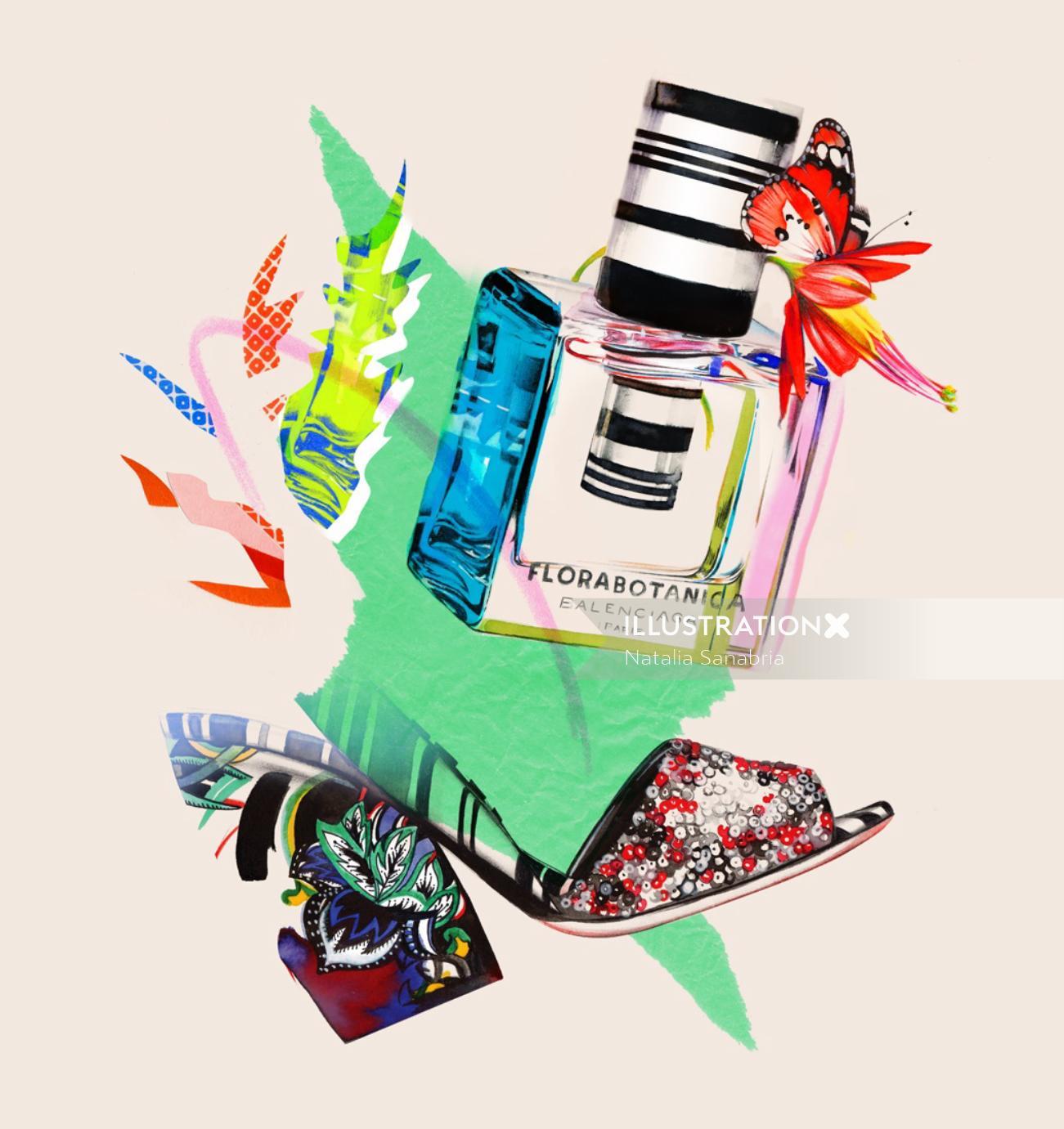 Stylish colourful designed footwear