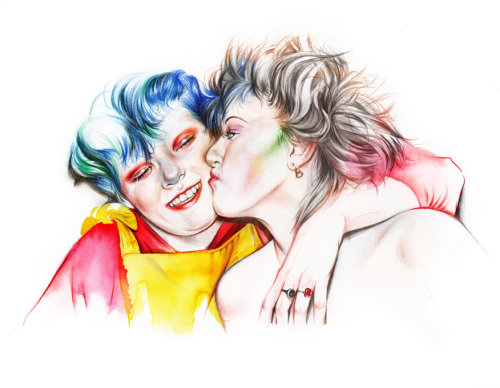 Kissing female art by Natalia Sanabria