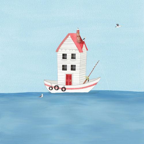 Ilustração em aquarela de barco