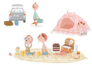 Family at picnic artwork by Natalie Kilany