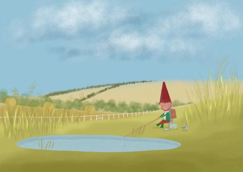 Illustration éditoriale de l'homme de pêche