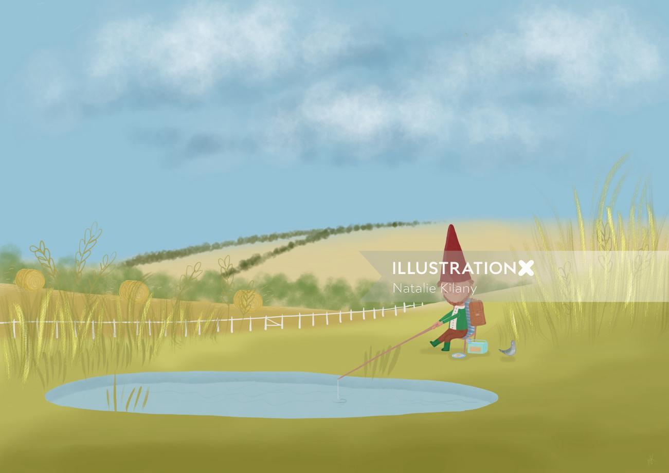 Editorial illustration of fishing man