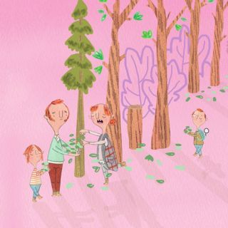 Illustration of family in the forest collecting leaves