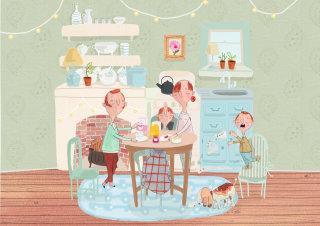 Painting of  family breakfast scene