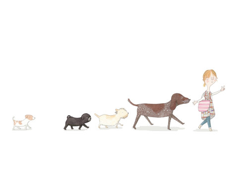Bela mão desenho de mulher andando com animais de estimação