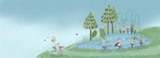 Illustration of people on bikes